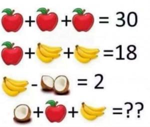Imagen de: manzana + manzana + manzana = 30; manzana + 4 platanos + 4 platanos = 18; 4 platanos - 2 cocos = 2; un coco + manzana + 3 platanos = ?