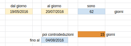 Example of different cell background color in a spreadsheet